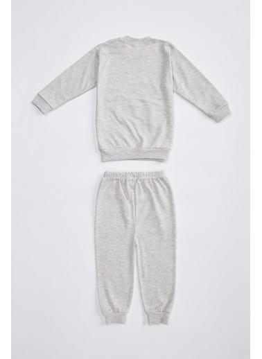 DeFacto Kız Bebek Baskılı Pamuklu Pijama Takımı Bej
